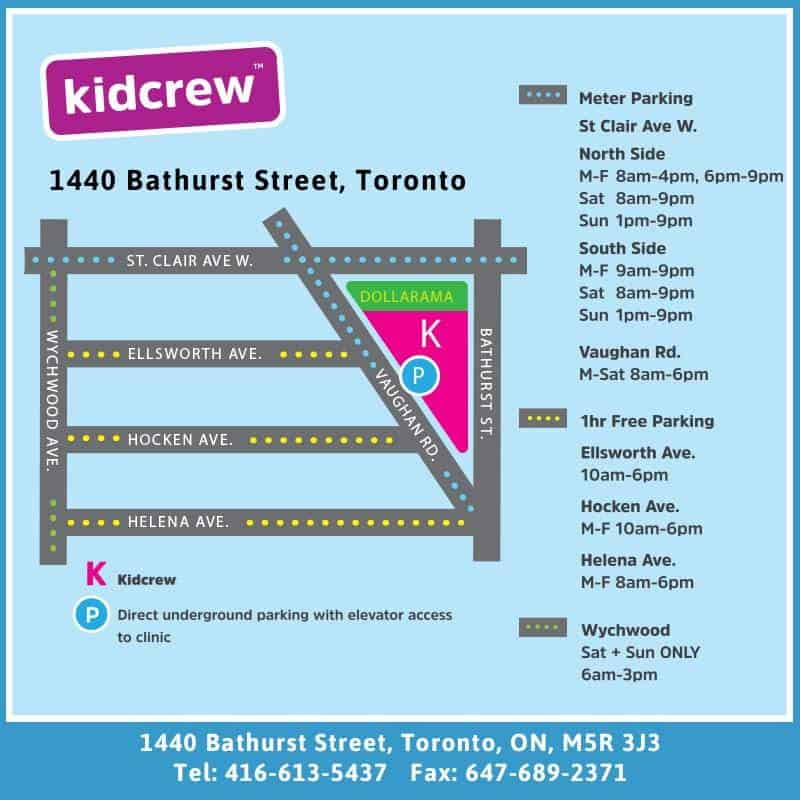 Kidcrew Medical with Dr Dina Kulik - Parking Map